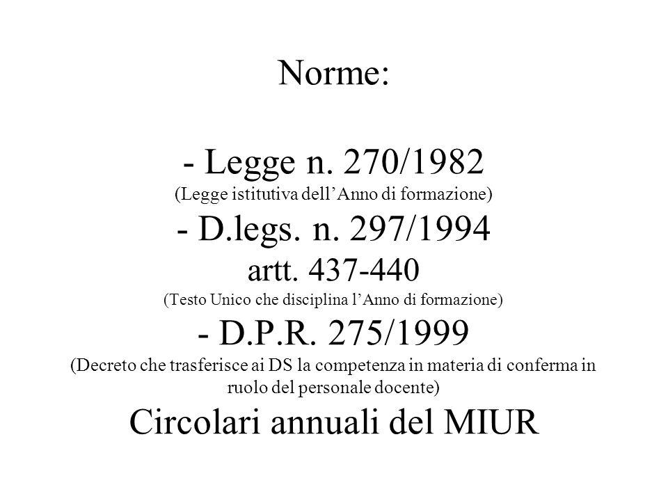 Norme: - Legge n.270/1982 (Legge istitutiva dell'Anno di formazione) - D.legs.