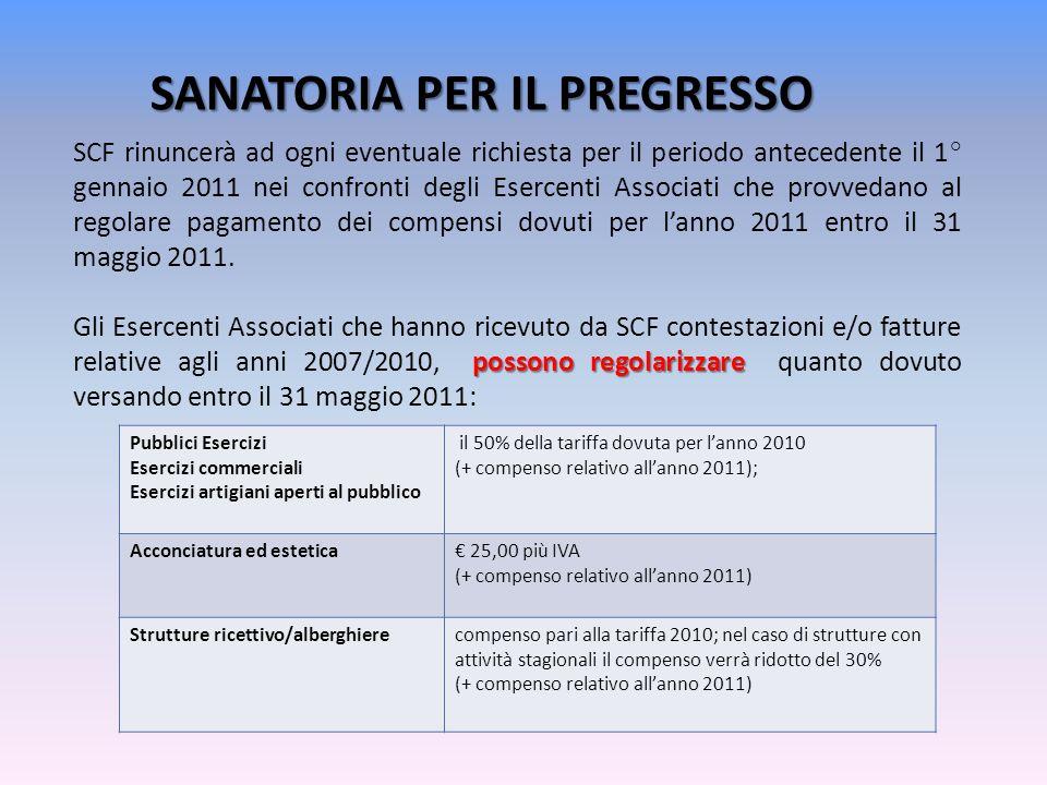SANATORIA PER IL PREGRESSO SCF rinuncerà ad ogni eventuale richiesta per il periodo antecedente il 1° gennaio 2011 nei confronti degli Esercenti Associati che provvedano al regolare pagamento dei compensi dovuti per l'anno 2011 entro il 31 maggio 2011.