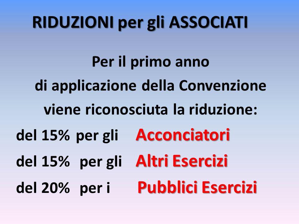 RIDUZIONI per gli ASSOCIATI Per il primo anno di applicazione della Convenzione viene riconosciuta la riduzione: Acconciatori del 15%per gli Acconciatori AltriEsercizi del 15% per gli Altri Esercizi PubbliciEsercizi del 20% per i Pubblici Esercizi