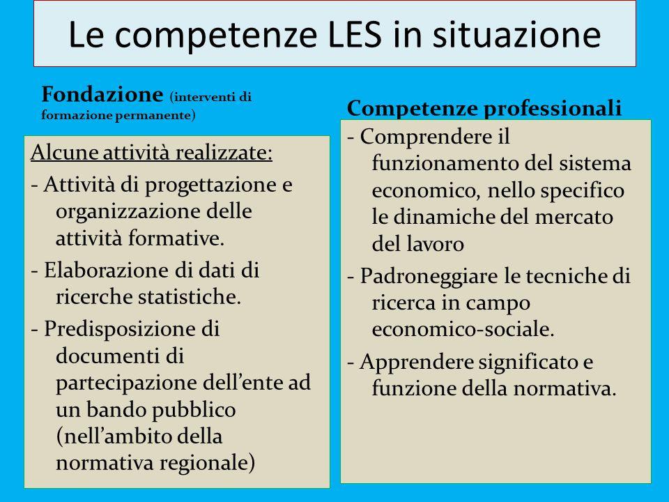 Le competenze LES in situazione Fondazione (interventi di formazione permanente) Alcune attività realizzate: - Attività di progettazione e organizzazi
