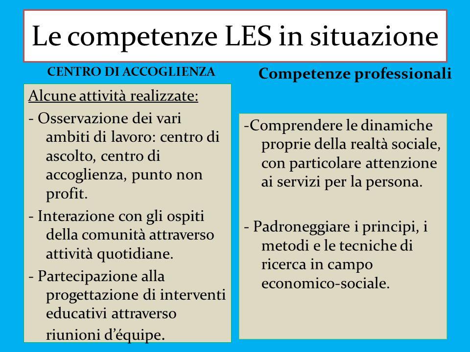 Le competenze LES in situazione -Comprendere le dinamiche proprie della realtà sociale, con particolare attenzione ai servizi per la persona. - Padron