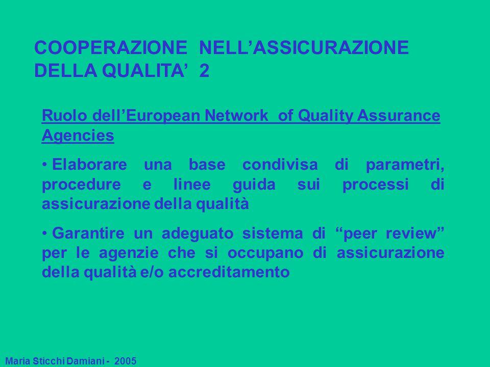 Maria Sticchi Damiani - 2005 COOPERAZIONE NELL'ASSICURAZIONE DELLA QUALITA' 2 Ruolo dell'European Network of Quality Assurance Agencies Elaborare una base condivisa di parametri, procedure e linee guida sui processi di assicurazione della qualità Garantire un adeguato sistema di peer review per le agenzie che si occupano di assicurazione della qualità e/o accreditamento