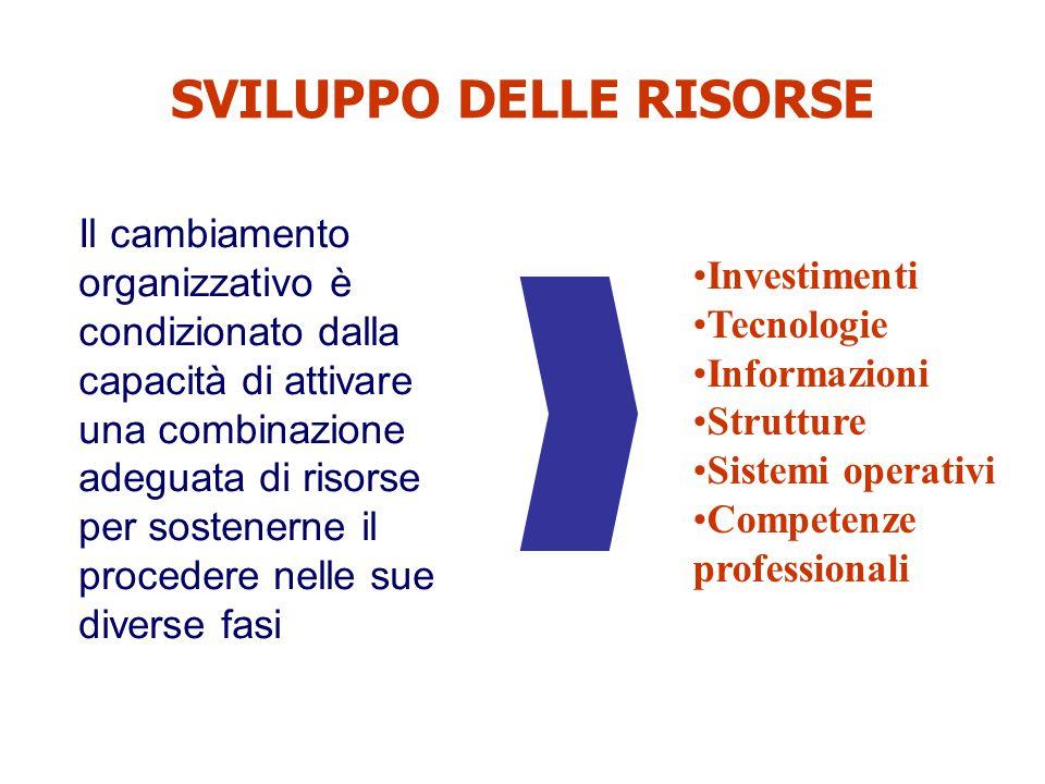 SVILUPPO DELLE RISORSE Il cambiamento organizzativo è condizionato dalla capacità di attivare una combinazione adeguata di risorse per sostenerne il p