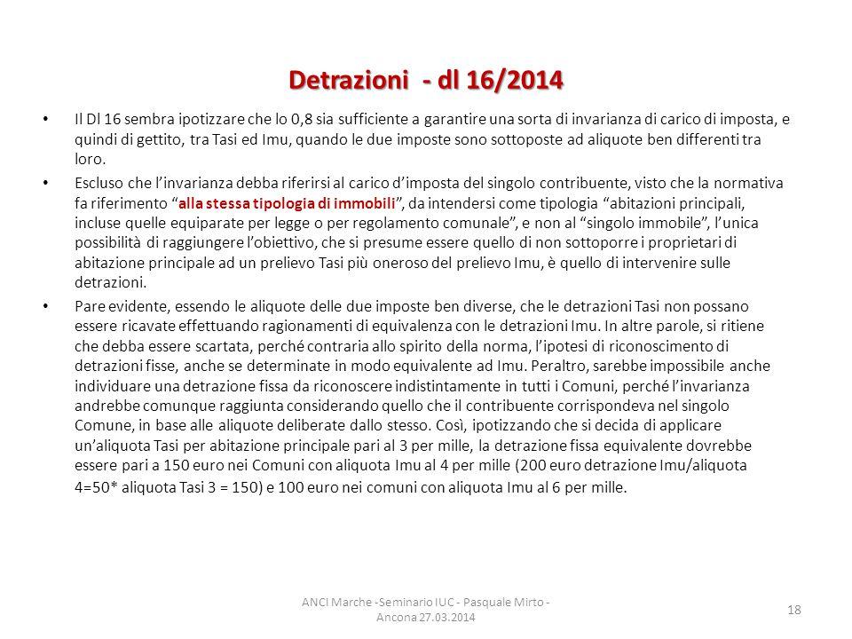 Detrazioni - dl 16/2014 Il Dl 16 sembra ipotizzare che lo 0,8 sia sufficiente a garantire una sorta di invarianza di carico di imposta, e quindi di gettito, tra Tasi ed Imu, quando le due imposte sono sottoposte ad aliquote ben differenti tra loro.
