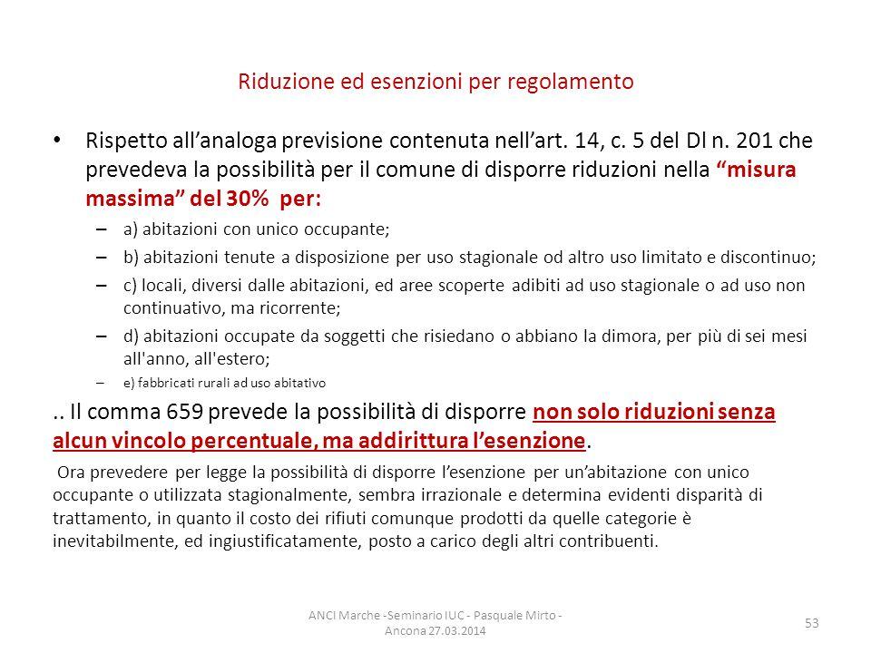 Riduzione ed esenzioni per regolamento Rispetto all'analoga previsione contenuta nell'art.