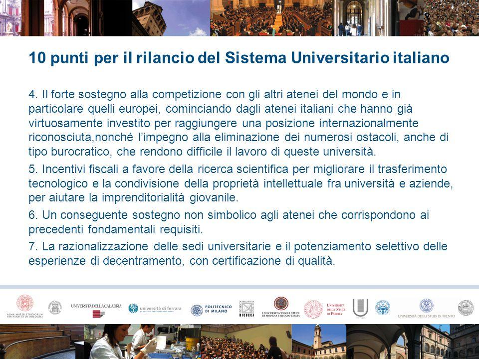 10 punti per il rilancio del Sistema Universitario italiano 4. Il forte sostegno alla competizione con gli altri atenei del mondo e in particolare que