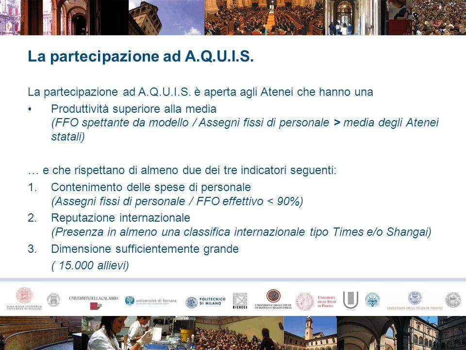 La partecipazione ad A.Q.U.I.S. La partecipazione ad A.Q.U.I.S. è aperta agli Atenei che hanno una Produttività superiore alla media (FFO spettante da