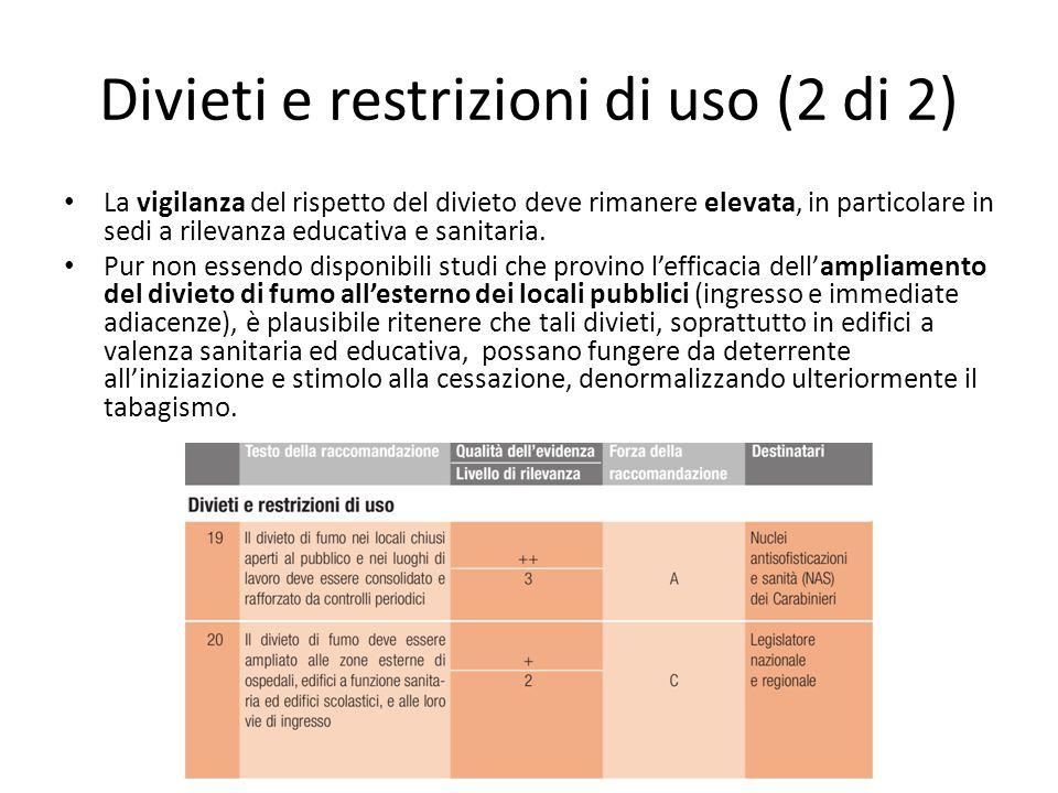 Divieti e restrizioni di uso (2 di 2) La vigilanza del rispetto del divieto deve rimanere elevata, in particolare in sedi a rilevanza educativa e sanitaria.