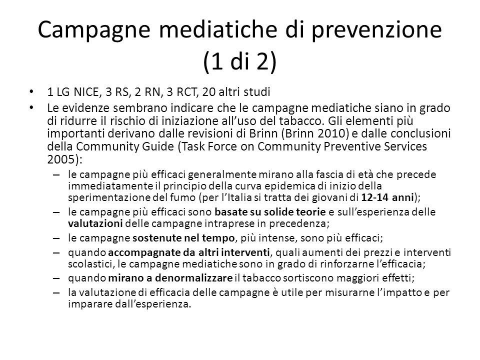 Campagne mediatiche di prevenzione (1 di 2) 1 LG NICE, 3 RS, 2 RN, 3 RCT, 20 altri studi Le evidenze sembrano indicare che le campagne mediatiche siano in grado di ridurre il rischio di iniziazione all'uso del tabacco.