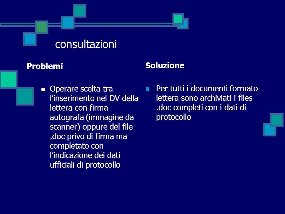 consultazioni Problemi Operare scelta tra l'inserimento nel DV della lettera con firma autografa (immagine da scanner) oppure del file.doc privo di fi