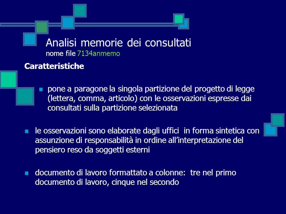 Analisi memorie dei consultati nome file 7134anmemo Caratteristiche pone a paragone la singola partizione del progetto di legge (lettera, comma, artic