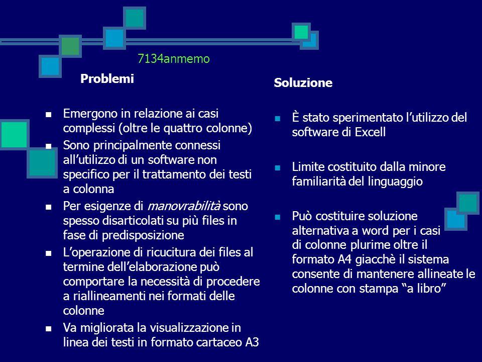 Problemi Emergono in relazione ai casi complessi (oltre le quattro colonne) Sono principalmente connessi all'utilizzo di un software non specifico per