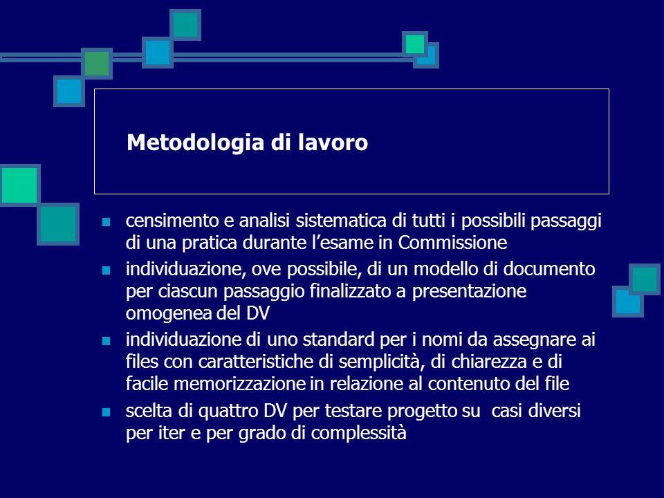 Metodologia di lavoro censimento e analisi sistematica di tutti i possibili passaggi di una pratica durante l'esame in Commissione individuazione, ove