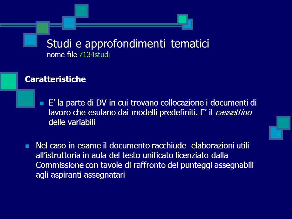 Studi e approfondimenti tematici nome file 7134studi Caratteristiche E' la parte di DV in cui trovano collocazione i documenti di lavoro che esulano dai modelli predefiniti.