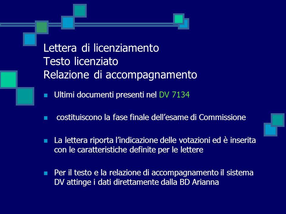 Lettera di licenziamento Testo licenziato Relazione di accompagnamento Ultimi documenti presenti nel DV 7134 costituiscono la fase finale dell'esame d