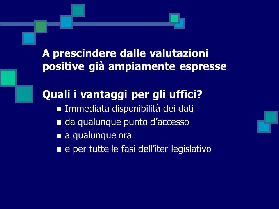 A prescindere dalle valutazioni positive già ampiamente espresse Quali i vantaggi per gli uffici? Immediata disponibilità dei dati da qualunque punto