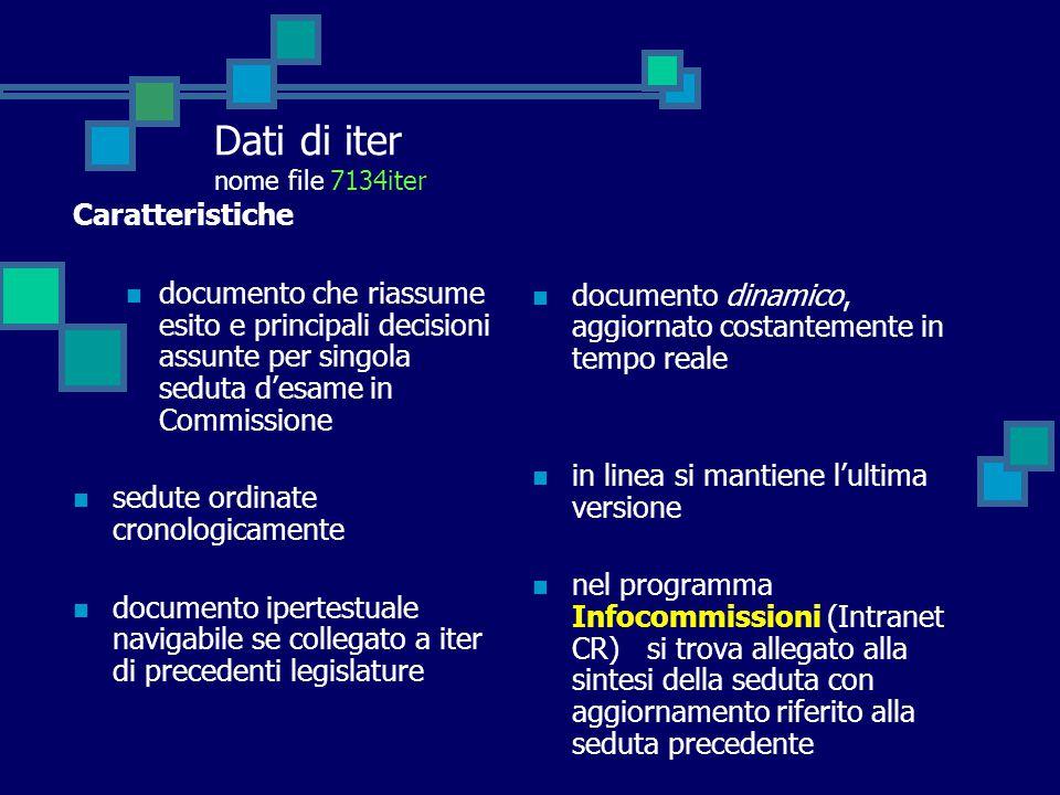 Dati di iter nome file 7134iter Caratteristiche documento che riassume esito e principali decisioni assunte per singola seduta d'esame in Commissione