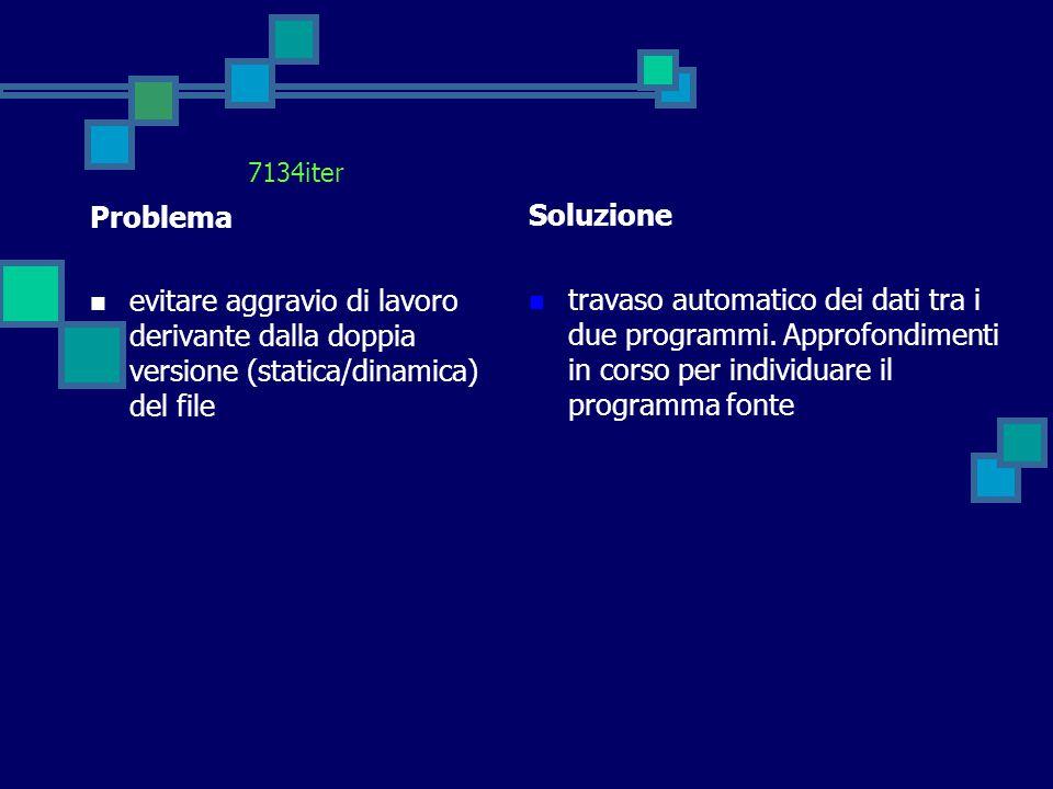 7134iter Problema evitare aggravio di lavoro derivante dalla doppia versione (statica/dinamica) del file Soluzione travaso automatico dei dati tra i d