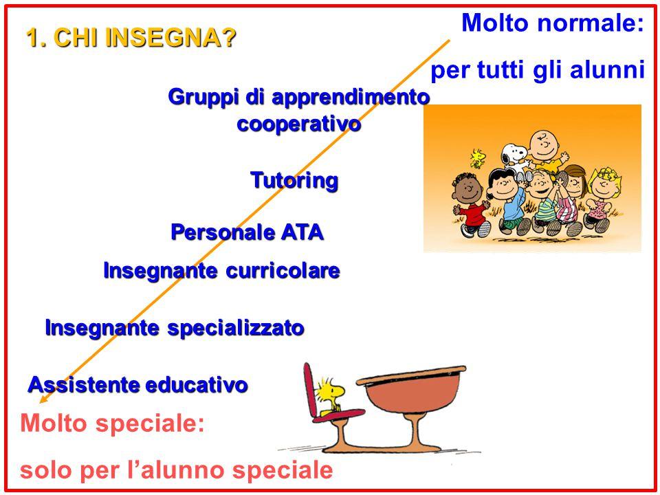 Molto speciale: solo per l'alunno speciale Molto normale: per tutti gli alunni Insegnante specializzato Insegnante curricolare Tutoring Gruppi di apprendimento cooperativo 1.
