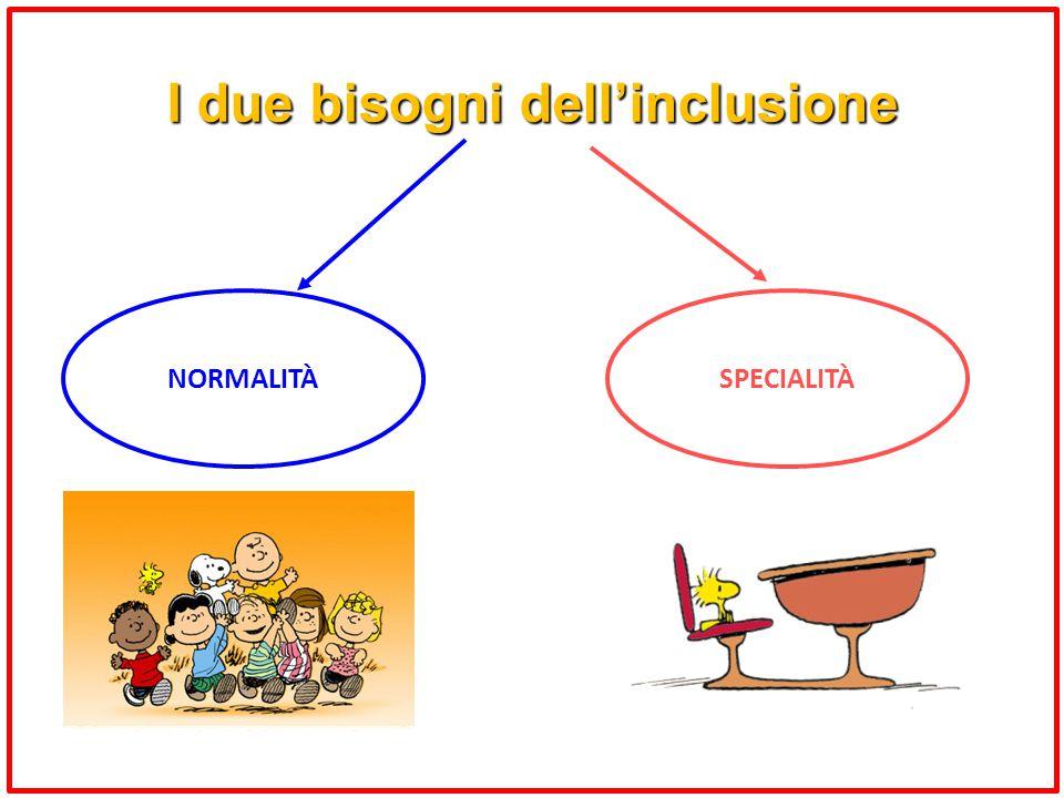 I due bisogni dell'inclusione NORMALITÀSPECIALITÀ
