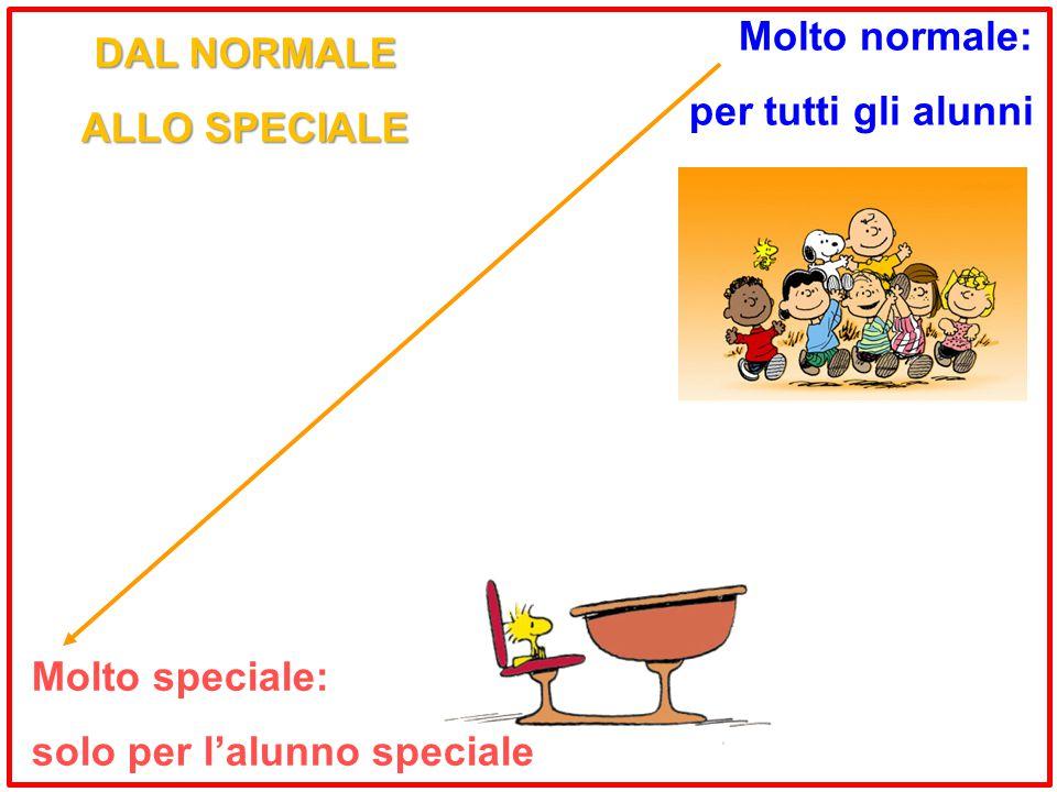 Molto speciale: solo per l'alunno speciale Molto normale: per tutti gli alunni DAL NORMALE ALLO SPECIALE