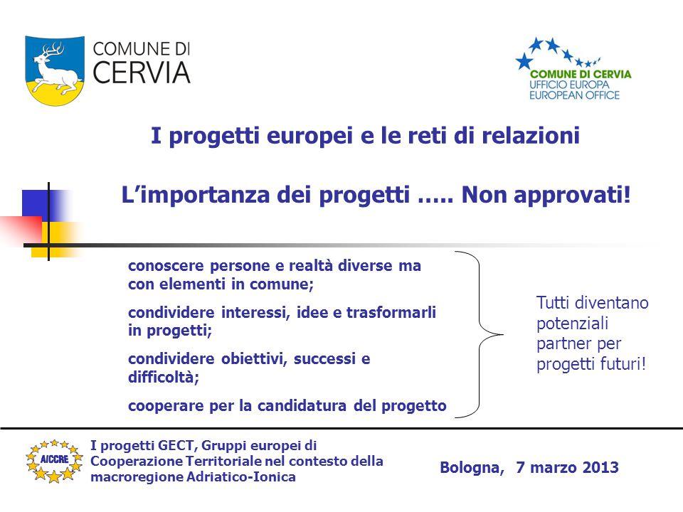 I progetti GECT, Gruppi europei di Cooperazione Territoriale nel contesto della macroregione Adriatico-Ionica Bologna, 7 marzo 2013 I progetti europei