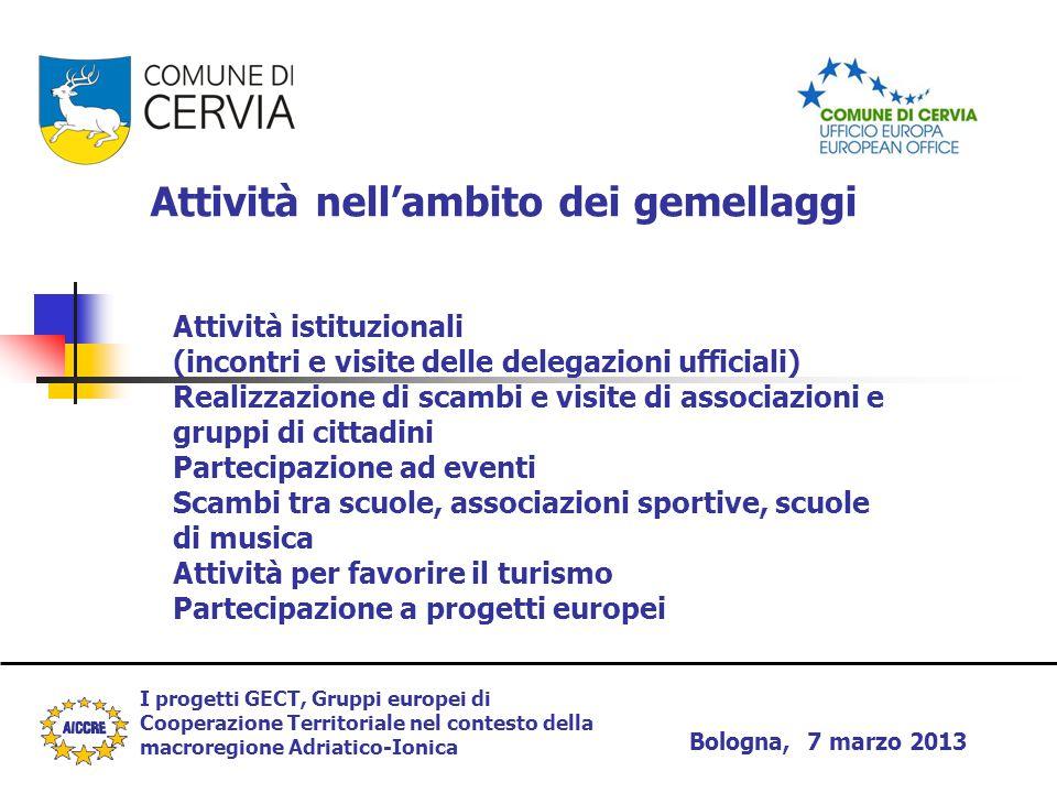 I progetti GECT, Gruppi europei di Cooperazione Territoriale nel contesto della macroregione Adriatico-Ionica Bologna, 7 marzo 2013 Attività nell'ambi