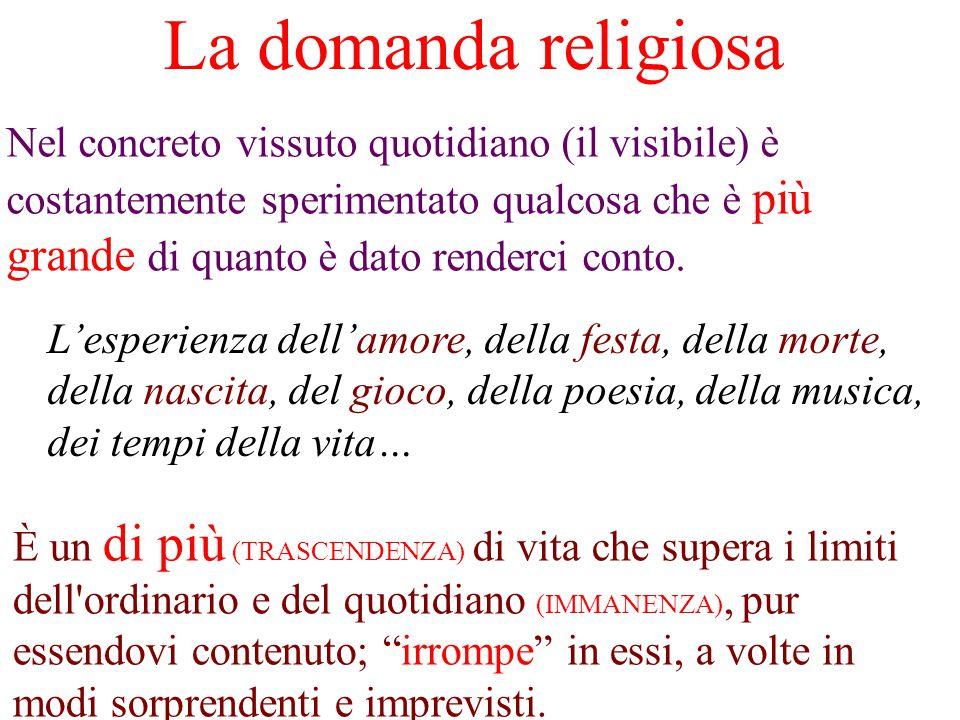 La domanda religiosa Nel concreto vissuto quotidiano (il visibile) è costantemente sperimentato qualcosa che è più grande di quanto è dato renderci conto.
