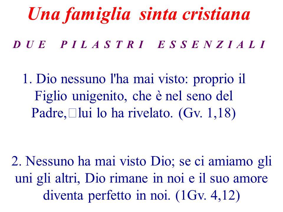 1. Dio nessuno l'ha mai visto: proprio il Figlio unigenito, che è nel seno del Padre, lui lo ha rivelato. (Gv. 1,18) 2. Nessuno ha mai visto Dio; se c