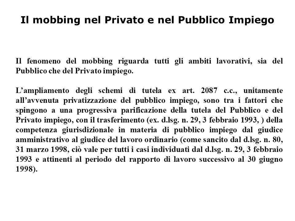 Il mobbing nel Privato e nel Pubblico Impiego Il fenomeno del mobbing riguarda tutti gli ambiti lavorativi, sia del Pubblico che del Privato impiego.