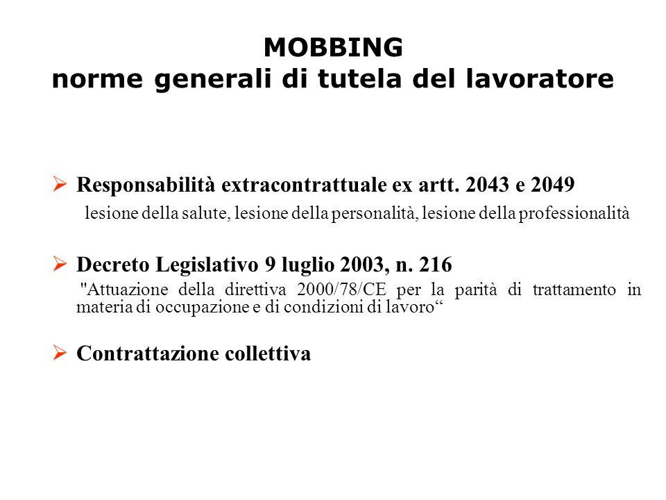 MOBBING norme generali di tutela del lavoratore RR esponsabilità extracontrattuale ex artt. 2043 e 2049 lesione della salute, lesione della person