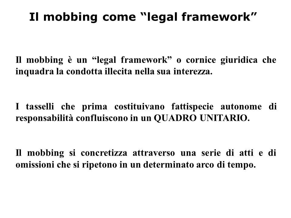 """Il mobbing come """"legal framework"""" Il mobbing è un """"legal framework"""" o cornice giuridica che inquadra la condotta illecita nella sua interezza. I tasse"""