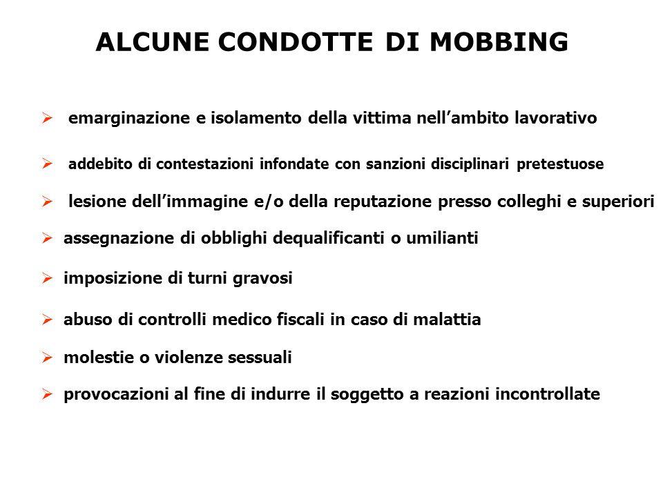 ALCUNE CONDOTTE DI MOBBING  emarginazione e isolamento della vittima nell'ambito lavorativo  addebito di contestazioni infondate con sanzioni discip