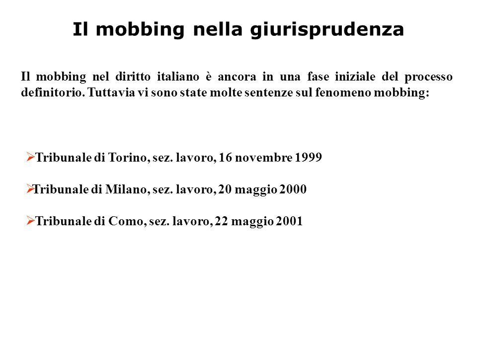 Il mobbing nella giurisprudenza  T T ribunale di Torino, sez. lavoro, 16 novembre 1999 TT ribunale di Milano, sez. lavoro, 20 maggio 2000  T T r