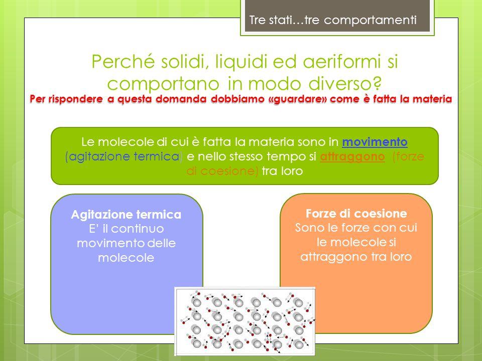 Perché solidi, liquidi ed aeriformi si comportano in modo diverso? Tre stati…tre comportamenti Agitazione termica E' il continuo movimento delle molec