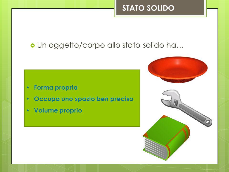 STATO SOLIDO  Un oggetto/corpo allo stato solido ha… Forma propria Occupa uno spazio ben preciso Volume proprio