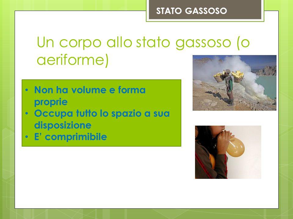 Un corpo allo stato gassoso (o aeriforme) STATO GASSOSO Non ha volume e forma proprie Occupa tutto lo spazio a sua disposizione E' comprimibile
