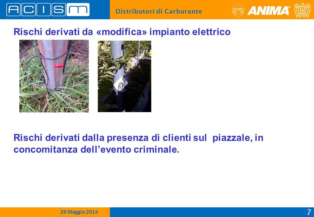 Distributori di Carburante 7 15 Febbraio 2012 29 Maggio 2014 Rischi derivati da «modifica» impianto elettrico Rischi derivati dalla presenza di clienti sul piazzale, in concomitanza dell'evento criminale.