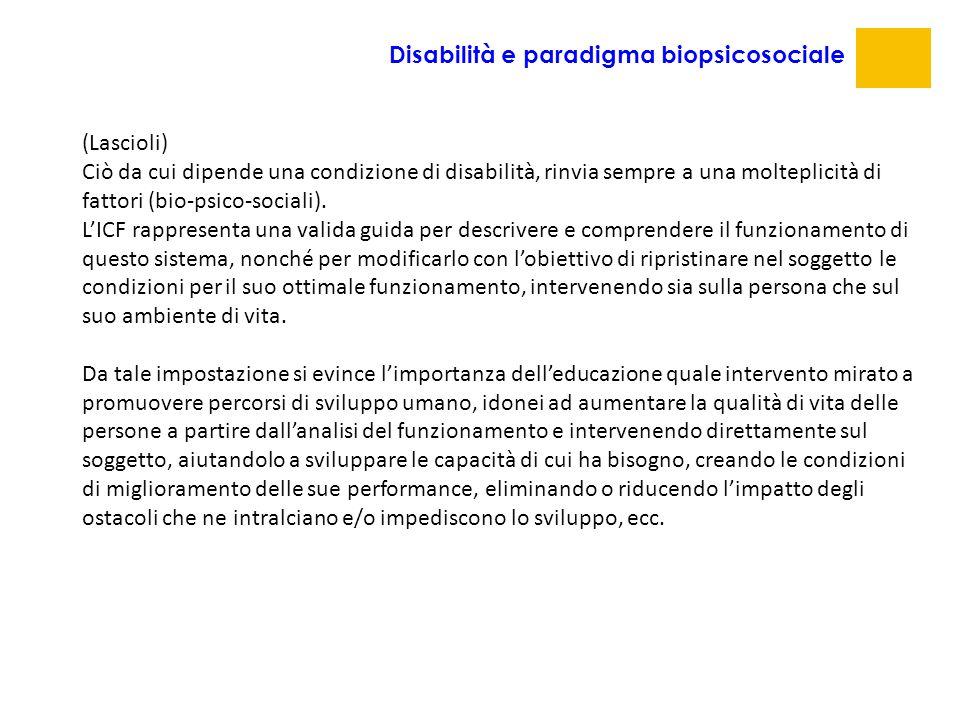 (Lascioli) Ciò da cui dipende una condizione di disabilità, rinvia sempre a una molteplicità di fattori (bio-psico-sociali). L'ICF rappresenta una val