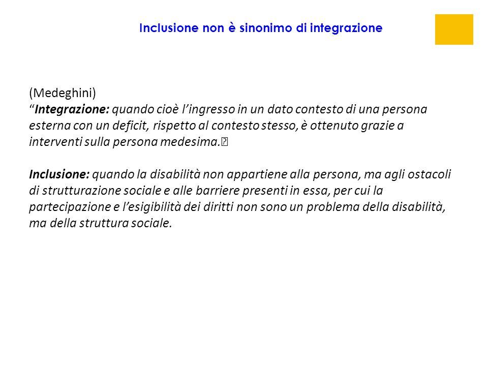 """(Medeghini) """"Integrazione: quando cioè l'ingresso in un dato contesto di una persona esterna con un deficit, rispetto al contesto stesso, è ottenuto g"""