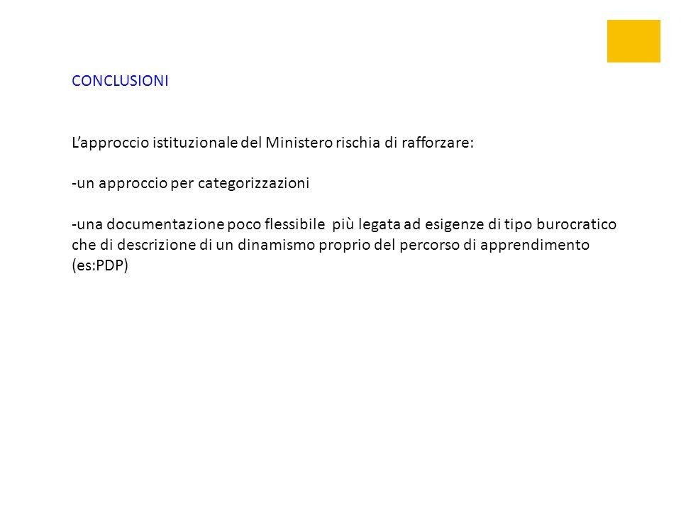 CONCLUSIONI L'approccio istituzionale del Ministero rischia di rafforzare: -un approccio per categorizzazioni -una documentazione poco flessibile più