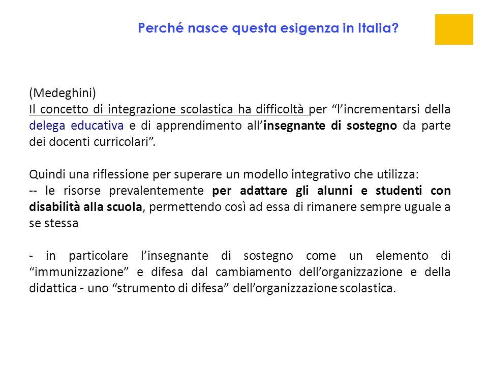 """(Medeghini) Il concetto di integrazione scolastica ha difficoltà per """"l'incrementarsi della delega educativa e di apprendimento all'insegnante di sost"""