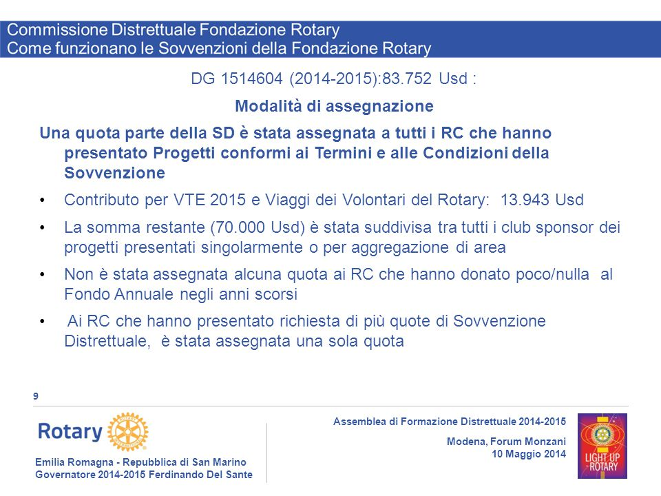 Emilia Romagna - Repubblica di San Marino Governatore 2014-2015 Ferdinando Del Sante Distretto 2072 9 Assemblea di Formazione Distrettuale 2014-2015 M