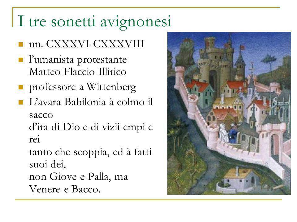 I tre sonetti avignonesi nn. CXXXVI-CXXXVIII l'umanista protestante Matteo Flaccio Illirico professore a Wittenberg L'avara Babilonia à colmo il sacco