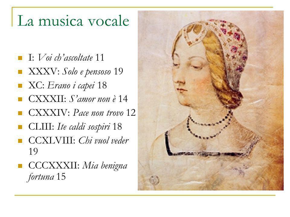 La musica vocale I: Voi ch'ascoltate 11 XXXV: Solo e pensoso 19 XC: Erano i capei 18 CXXXII: S'amor non è 14 CXXXIV: Pace non trovo 12 CLIII: Ite cald