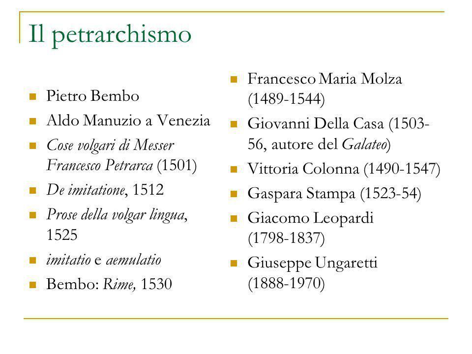 Il petrarchismo Pietro Bembo Aldo Manuzio a Venezia Cose volgari di Messer Francesco Petrarca (1501) De imitatione, 1512 Prose della volgar lingua, 15