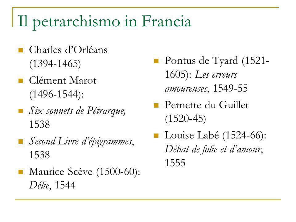 Il petrarchismo in Francia Charles d'Orléans (1394-1465) Clément Marot (1496-1544): Six sonnets de Pétrarque, 1538 Second Livre d'épigrammes, 1538 Mau