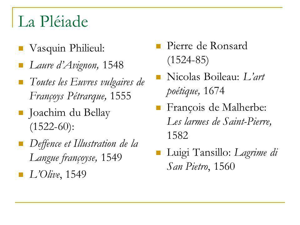 La Pléiade Vasquin Philieul: Laure d'Avignon, 1548 Toutes les Euvres vulgaires de Françoys Pétrarque, 1555 Joachim du Bellay (1522-60): Deffence et Il