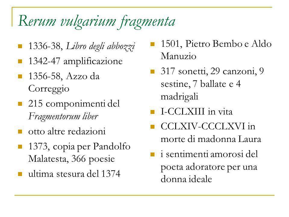 Rerum vulgarium fragmenta 1336-38, Libro degli abbozzi 1342-47 amplificazione 1356-58, Azzo da Correggio 215 componimenti del Fragmentorum liber otto altre redazioni 1373, copia per Pandolfo Malatesta, 366 poesie ultima stesura del 1374 1501, Pietro Bembo e Aldo Manuzio 317 sonetti, 29 canzoni, 9 sestine, 7 ballate e 4 madrigali I-CCLXIII in vita CCLXIV-CCCLXVI in morte di madonna Laura i sentimenti amorosi del poeta adoratore per una donna ideale