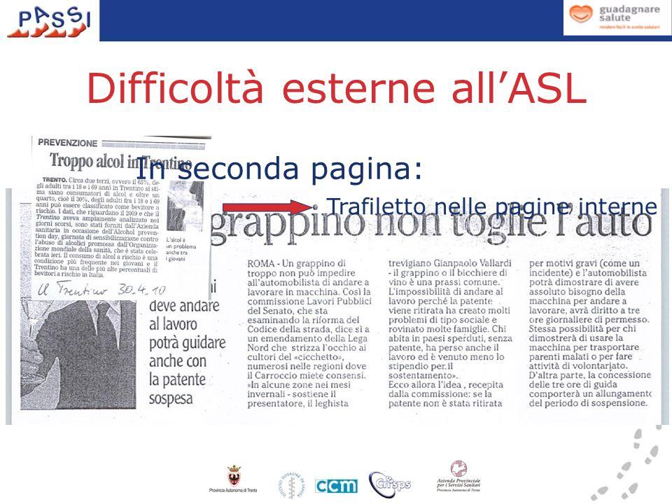 Difficoltà esterne all'ASL Trafiletto nelle pagine interne In seconda pagina: